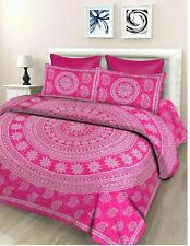 Blumenmuster Double From 100% Cotton With 2 Pillowcases Pink