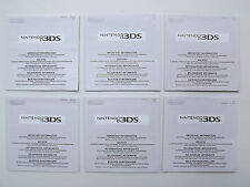 Lot 6 notices Nintendo 3DS - Livret classification par age, garantie,coordonnées
