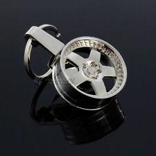 Jdm Car Tuning Parts Racing 5-Spoke Rim Wheel Metal Keychain Keyring Fob Silver