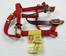 Hamilton Deluxe ADJUSTABLE HORSE HALTER w/ Leather Headpoll -Brass SMALL Red NEW