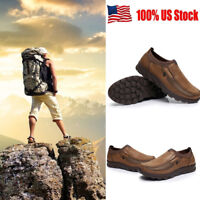 US New Men's Summer Leather Casual Shoes Breathable Antiskid Loafers Moccasins