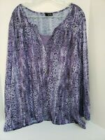 Erika Womens Size 3X Pullover Purple Sequin Elastic Long Sleeve Blouse Top Shirt