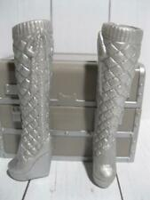 BARBIE DOLL FASHIONISTA TALL SILVER FASHION BOOTS SHOES WEDGE HEEL TIE QUILTED