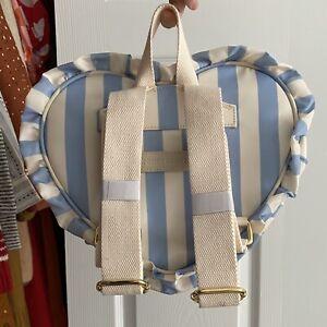 new STONEY CLOVER ruffle mini heart backpack hydrangea blue white stripe