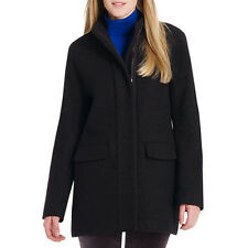 Jones New York Wool Coat with Short Zip Front - Size 12 in Black NWT Ladies