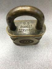 Vintage U.S. Forest Service Brass Yale Padlock Lock with  (NO KEY)