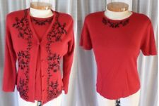 NWT NEW M L Red Blouse Sweater Lady Twin Set Bead Medium Large Woman 8 Wool Blen