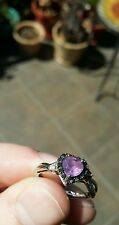 10K White Gold Ring with Genuine Amethyst/Black and White Diamonds!!