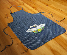 Vintage Country Style Pure Cotton Printed Swans Floral Kitchen BBQ Bib Apron