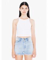 American Apparel Women's Ladies Cotton Spandex Sleeveless Crop Top 8369
