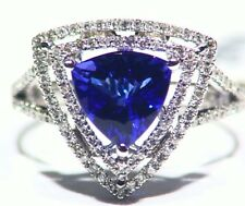 2.93CT 14K Gold Natural Tanzanite Diamond Vintage AAAA Art Deco Engagement Ring