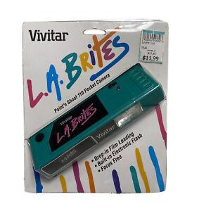 Vintage 1991 Vivitar LA Brites Teal Point N Shoot 110 Pocket Camera Factory Seal