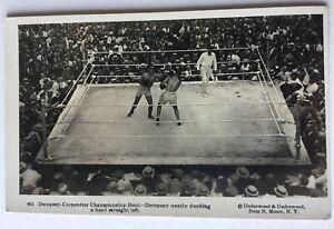 1921 Dempsey Vs Carpentier Fight Real Photo Postcard Underwood & Underwood