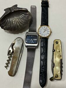 Vintage Lot Wristwatches Corkscrew Pocket Knife Silver Shell Ashtray