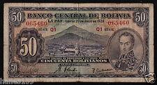 BOLIVIA (P132) 50 Bolivianos L.1928 aF/F