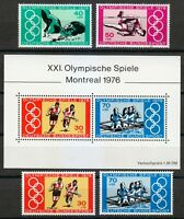 Germany 1976 MNH Mi 886-889+Block 12 Sc B530-B532 a-b Olympic Games, Montreal **