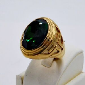 RING MEN EMERALD STAINLESS STEEL YELLOW GOLD CROSS KNIGHT TEMPLAR POPE SIZE 10 g