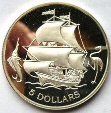 Bahamas 1993 Sailing Ship 5 Dollars Silver Coin,Proof