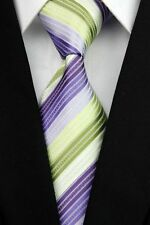 Purple Lilac Green Striped Tie Business Ties Slim Striped Spring Horse Racing
