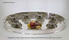 Silver Oval Gallery Tray, Set of 6 Vintage Coffee Cup & Saucer, Herend