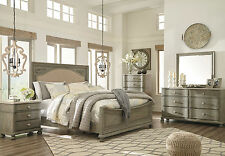 SANDERS 5 pieces Traditional Antique Gray Bedroom Set w/ Queen Fabric Panel Bed