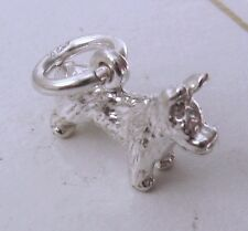 GENUINE SOLID 925 STERLING SILVER TERRIER DOG ANIMAL CHARM PENDANT