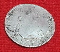 Spain 2 Reales Carolus IV (Charles IV) 1799 MF Madrid Mint Spanish Silver Coin