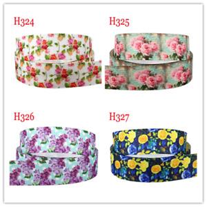 7/8''  22mm Floral Ribbon Grosgrain Satin Flower Print DIY Hair Bow Accessory