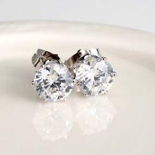 Women's Stud Earrings 18k White Gold Filled Ear stud 8mm CZ Fashion Jewelry
