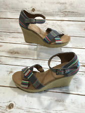 5fc894693ad Toms Womens 8.5 Strappy Wedge Denim Stripe Blue Platform Shoes Sandals  Heels EUC