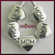 5 MOM Heart Charm Spacers Fits European Jewelry 11 x 12 mm & 5 mm hole S021