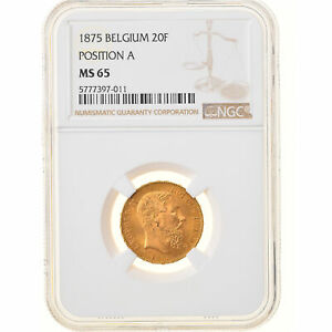 [#878852] Coin, Belgium, Leopold II, 20 Francs, 20 Frank, 1875, NGC, MS65