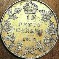 1912 CANADA SILVER 10 CENTS DIME COIN - Fantastic example !