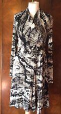 ISABEL DE PEDRO BLACK/GREY MIX WRAP DRESS SIZE 12