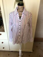 GERRY WEBER Ladies White Pink Stripe Sateen Long Sleeve Tailored Blouse Size 14