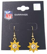 Pittsburgh Steelers NFL Football Dangle Earrings Gold Flower