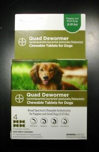 Bayer Quad Dewormer for Small Dogs (2-25 lbs) 4 Tablets Exp. Mar 2023 or Better