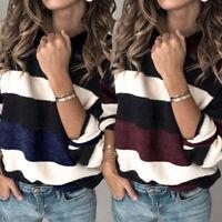 Women Color Block Sweatshirt Casual Top T-Shirt Pullover Jumper Loose Sweater