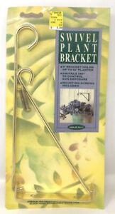 "Vintage 9"" Plant Hanger Swivel Bracket Gold Brass NOS 1994 Wall Hung Interior"