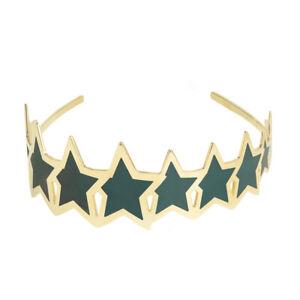 GENUINE DESIGNER AMBER SAKAI TIARA HEADBAND GROWING STAR TEAL / 16K GOLD PLATED