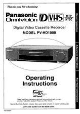 Panasonic PV-HD1000 VCR Owners Instruction Manual