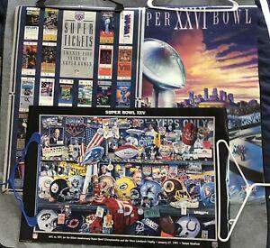 Lot of 3 Vintage 90's NFL Super Bowl Posters - XXV XXVI 25th Anniversary