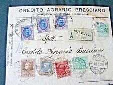 1928.. 3  FRANCOBOLLI DA 5 LIRE DELL'AQUILA SABAUDA...SU FRONTESPIZIO DI LETTERA