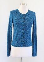 Diane Von Furstenberg Ibiza Blue Black Geometric Print Wool Cardigan Sweater S