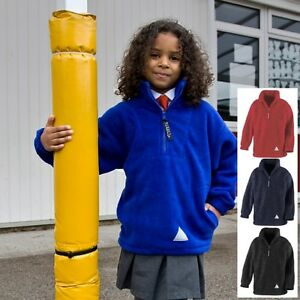 Kids Childrens Girls Boys BLACK RED or BLUE Zip Neck Fleece Top