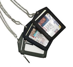 GENUINE LEATHER ID BADGE HOLDER ZIPPERED LANYARD METAL NECK CHAIN CARD HOLDER