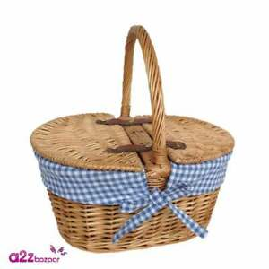 Childs Lined Lidded Hamper With Blue & White Checked Lining Wicker Picnic Basket