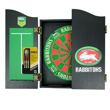 South Sydney Rabbitohs NRL Dart Board Set - Dartboard + Cabinet + Darts Man Cave