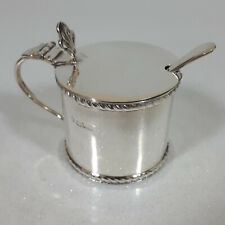 More details for vintage mustard pot & spoon blue glass liners silver hallmarks sheffield chester