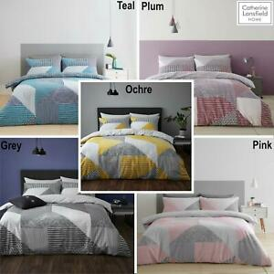 Catherine Lansfield Larsson Geo Reversible Duvet Cover Sets 4 Colours 3 Sizes